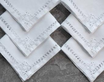 Vintage Linen Napkins Handmade Drawn Threadwork Crisp Wedding White Set of Six 1950s
