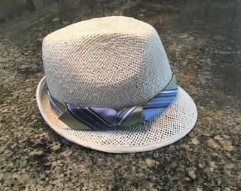 Gatsby, men's straw Trilby hat, Kentucky Derby hat, men's hat for the races, Tie embellishment