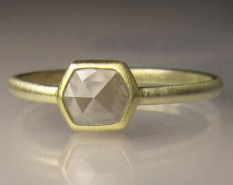 Geometric Rose Cut  Diamond Engagement Ring, Rose Cut Diamond Ring, 18k and 14k Gold