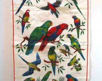 VINTAGE Linen Tea Towel, Australian Parrots by Leil, Souvenir, Old New, Extra Large, Pristine, Bold Red w/ green yellow, Aussie Birds Aviary