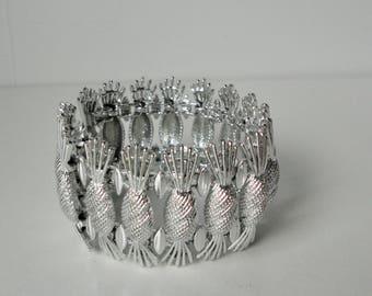 1962 Simply Elegant Silver Tone SARAH Cov. Pineapple Chunky Bracelet.