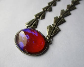 Art Deco Dragon's Breath Glass Stone Necklace, Geometric Links, Stone Setting Sterling, Links Are Silver Over Brass