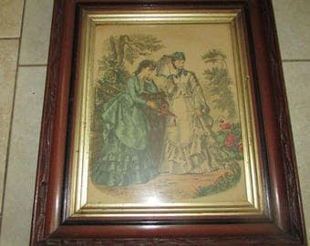 Antique Victorian PICTURE FRAME and Godey Lady Print