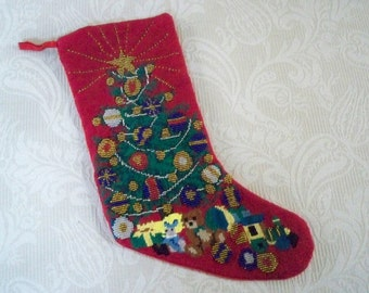 Vintage Home Decor Christmas Hand Stitched Sequin Christmas Tree Stocking