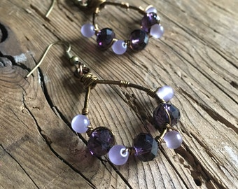 Purple crystal wire wrapped earrings with brass wire and brass ear hooks