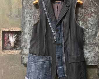 Denim & Pinstripe Midnight Grey Reconstructed Vest CC0107