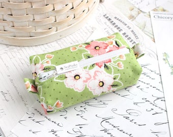 Green Floral Small Boxy Pouch Polka Dot Coin Purse Change Purse Credit Card Holder