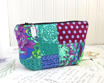 Purple and Teal Scrappy Floral Cosmetic Bag Makeup Bag Jewel Tones Patchwork Zipper Pouch Organizer