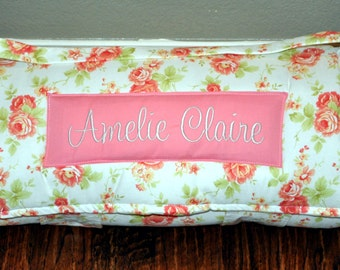 Nap Mat - Monogrammed Farm House Country Girl Vintage Rose Nap Mat with a Coral Minky Dot Blanket