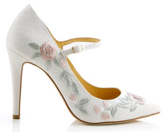 Floral Embroidered Linen Wedding Shoes.  Mary Jane Wedding Heels Bella Belle Shoes Adelaide