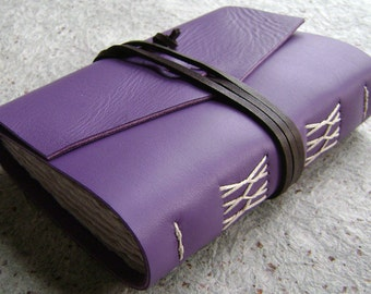 "Handmade Leather journal, 4"" x 6"", lavender journal, vintage style leather journal  (2208)"