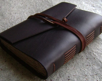 "Handmade rustic leather journal, 4"" x 6"", dark brown journal, old world journal, (2290)"