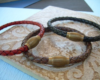 Masculine Braided Leather Bracelet with Antique Brass Magnetic Clasp,Leather Bracelet, Mens Bracelet, Mens Jewelry, Mens Gift, Gift for Him