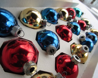 Vintage Glass Christmas Ornaments in Original Box Glass Tree Trim Red Gold Blue