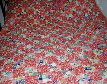 Vintage Colorful Block Square Quilt 1958