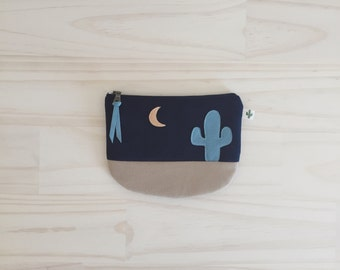 Coin Pouch, Cactus Zipper Pouch, Desert Night