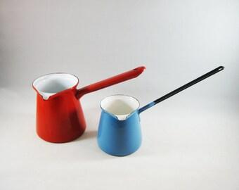 Vintage Red and Blue Enamel Saucepots, Mini Mod Kitchen Ladles