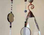 Natural Stone Copper Spiral Windchime Mobile Sun Catcher with Vintage Chandelier Drop