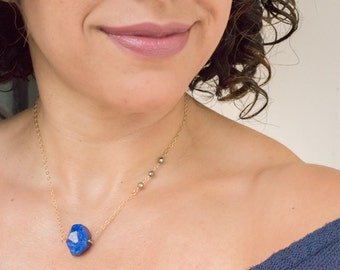 Lapis Lazuli Necklace/ Lapis Pendant Necklace/ Gold Lapis Necklace/ Geometric Necklace/ Lapis Nugget Necklace/ Gifts For Her/ Gifts under 50