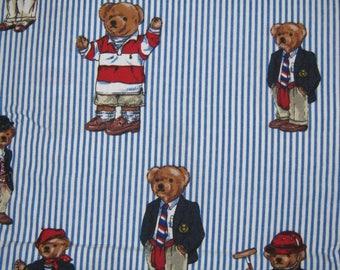 Ralph Lauren  Polo TEDDY BEARS twin  FLAT bed sheet