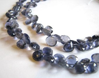 Iolite faceted heart briolettes, high quality gemstones, 4-7mm, 8 inch strand (w21)