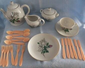 "Vintage Sears Child's ""Rosebud"" Porcelain Toy Tea Set 41-Pieces New Original Box"