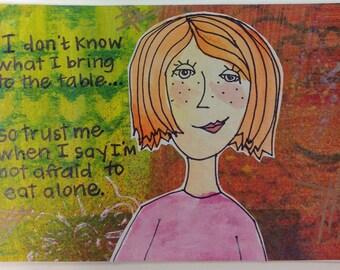 Whimsical girl print gelli plate background postcard
