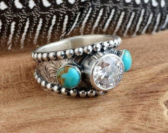 Turquoise Ring with CZ - Sterling silver - Western Wedding Ring - Unisex - Size 9 - White Diamond ring