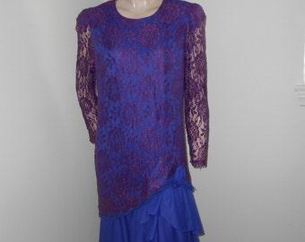 Purple/Blue Lace Covered 80's Dress - Size M