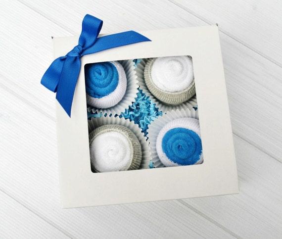 Baby Boy Cupcake Gift, Newborn Boy Layette Gift, Baby Shower Cupcakes Boy, Baby Gift Box Boy, Newborn Gift Basket, Boy Baby Gift Idea