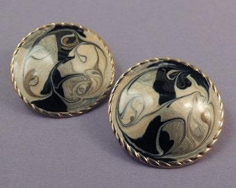 Abstract Disk Enamel Earrings, Modernist Enamel Earrings, Black Tan Gray Enamel Earrings, Swirl Enamel Earrings, Retro Enamel Earrings