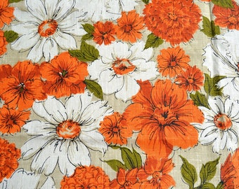 Vintage Tablecloth - Orange and White Summer Floral on Tan Canvas - 51 x 52