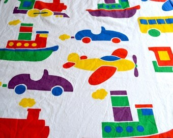 Vintage Fabric - Colorful Planes and Automobiles - By the Yard