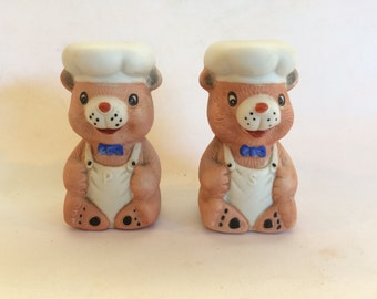 Vintage Chef Bear Salt and Pepper Shakers