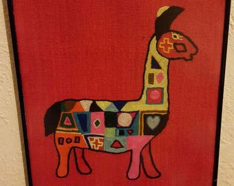 Colorful Crewel Llama Wallhanging