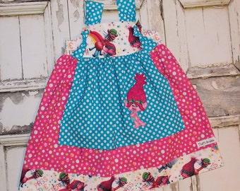 Trolls Movie Poppy Apron Knot Dress 2 3 4 5 6 7 8 10 12 14 Custom Birthday Party Dreamworks Glitter Cupcakes