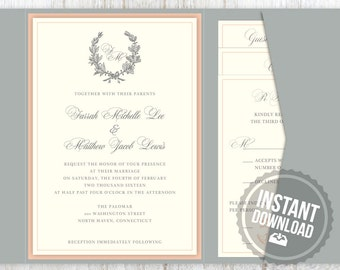 INSTANT DOWNLOAD Wedding Invitation Suite in Blush and Silver Laurel Wreath Design - Garden Design Customizable Printable Word Files