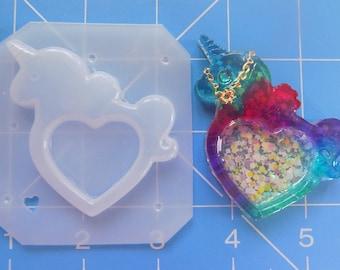 SALE Open Heart Kawaii Unicorn Bezel Flexible Plastic Handmade Resin Mold
