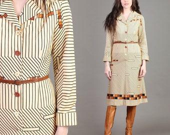 vintage BUTTERSCOTCH striped GEOMETRIC graphic secretary mod midi shirt dress 1970s 70s small medium S M