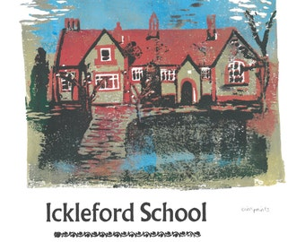 Ickleford School Reduction Lino and Letterpress Original Print