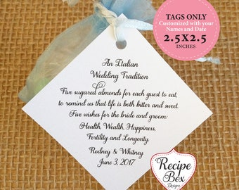 Italy Tradition for wedding, Jordan Almond favor Tags, Greece Bomboniere, Jordan Almonds Poem, Wedding Favor Tags Five Wishes Poem