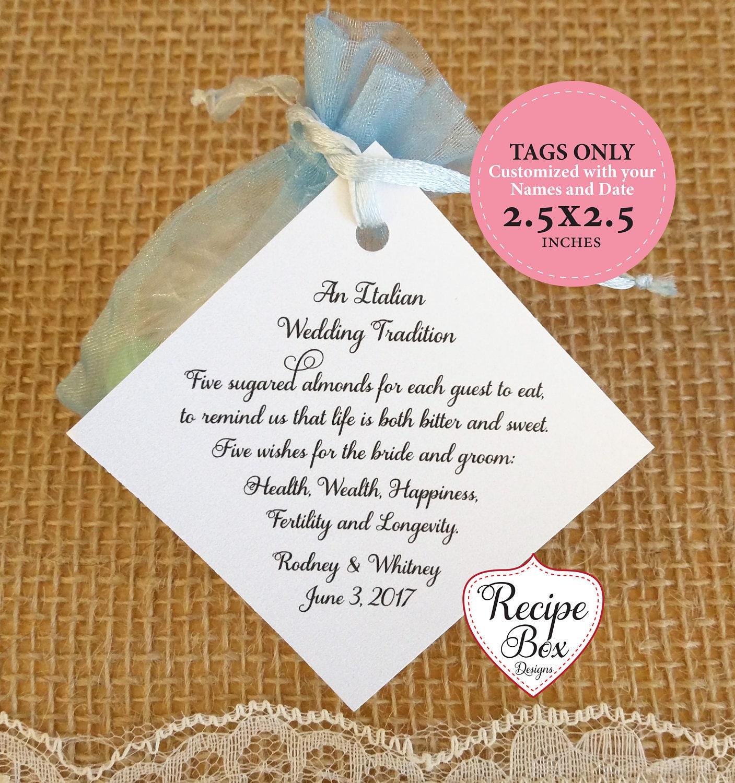 italy tradition for wedding jordan almond favor tags greece