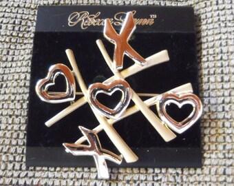 Rebecca Lynn Gold Tic Tac Toe Hearts and X Pin