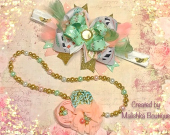 Gold Mint Green Hair Bow Headband Pearl Necklace Over Top Feathers Layered Peach White Fabric Flowers First Birthday Outfit Large Arrows