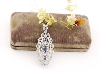 Antique 10k White Gold Filigree Pendant | Blue Edwardian Pendant | Antique Edwardian Jewelry