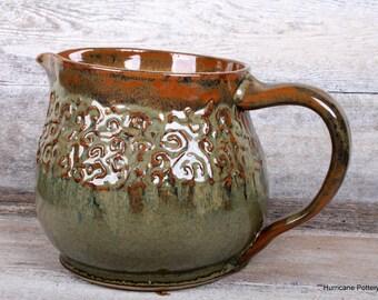 Handmade Ceramic Pottery Pitcher.  Beverage Pitcher. Water Pitcher. Iced Tea Pitcher. Copper. Bronze. Sage. Tan.