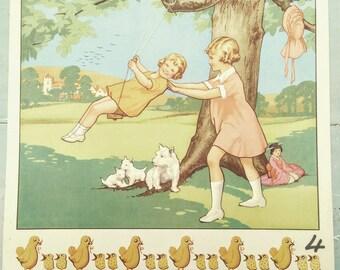 Vintage Children's Poster. Vintage MacMillan poster. Vintage 1930s Poster.  Original Print. The Swing. Garden. Playing. Children's decor.