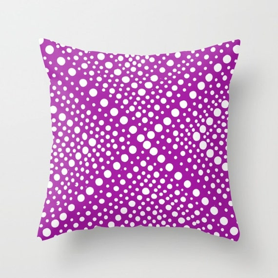 OUTDOOR Throw Pillow - Purple Outdoor Pillow - White Modern Geometric X Dot - 16 18 20 inch Purple Throw Pillow Outside Pillow