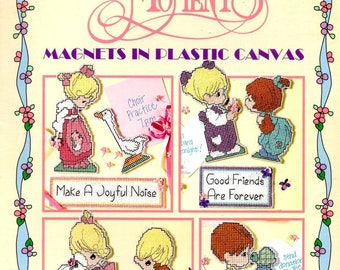 Precious Moments Magnets Plastic Canvas Joyful Jesus Loves Friends Counted Cross Stitch Embroidery Craft Pattern Leaflet Leisure Arts 1707