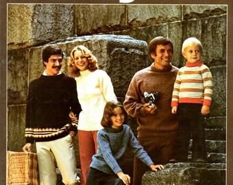 Seamless Raglans Knitted Sweaters in Round Infant Children Teens Women Men Craft Pattern Leaflet Leisure Arts 85